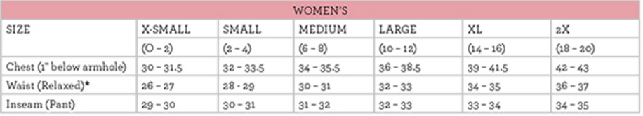 Boxercraft Las Size Chart