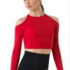 cold shoulder top- red