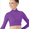 long sleeve crop top- purple
