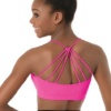 loop back strappy bra top-pink