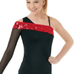 one shoulder sparkle top- red