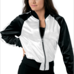satin bomber- white
