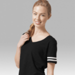 sporty slub v-neck- black