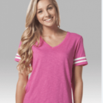 sporty v-neck slub- pink