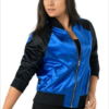 Satin Bomber Jacket- blue