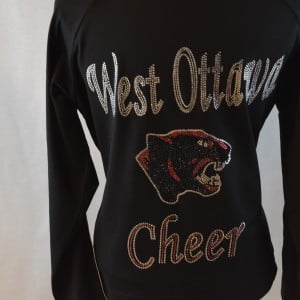 back view of bling cheer warm up jacket