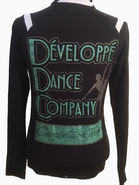 Developpe Dance Company Matte dance team jacket with rhinestones and glitter