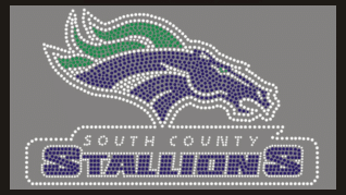 South County Stallions rhinestone logo for custom cheer jackets