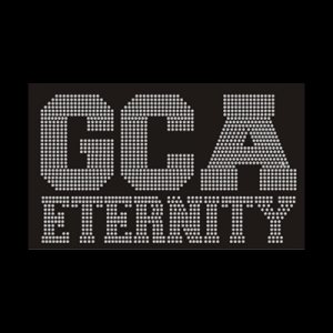 GCA Eternity logo in rhinestones