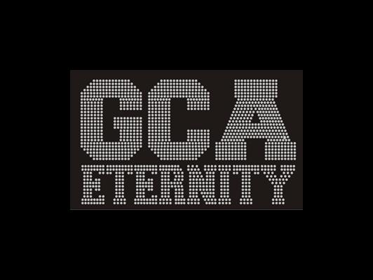 GCA Eternity logo in rhinestones
