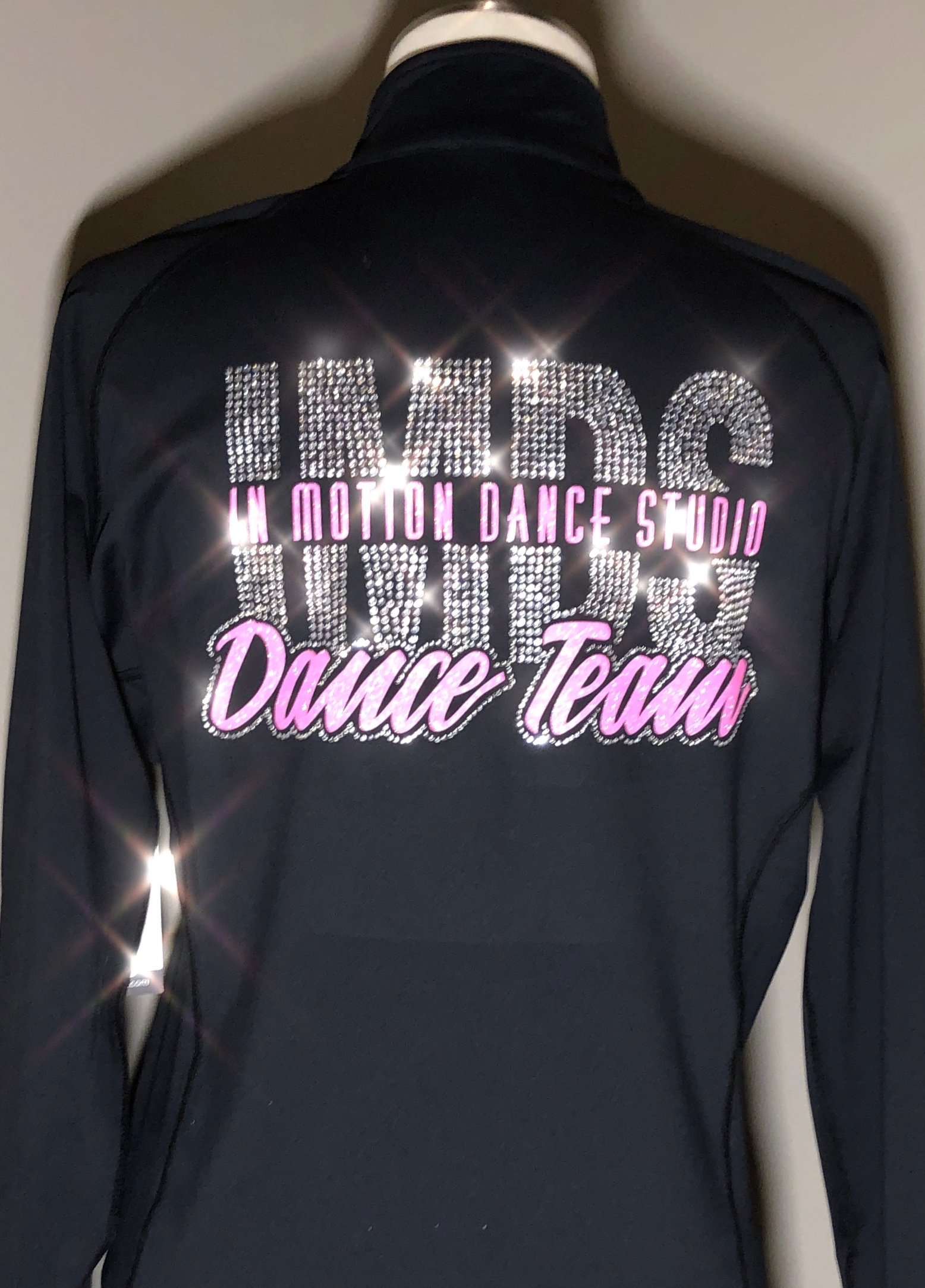 In Motion Dance Studio Dance Team custom glitter & rhinestone team jacket created by Crystallized Couture
