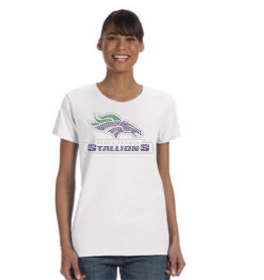 stallions rhinestones shirt on white tee