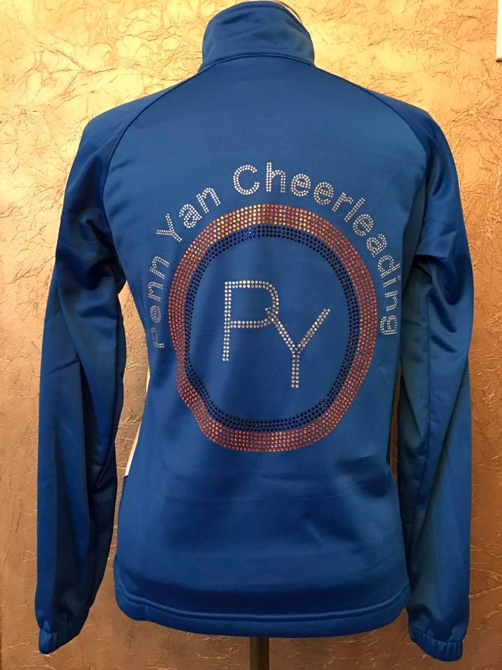 Penn Yan Cheerleaders Jacket customized with Rhinestones