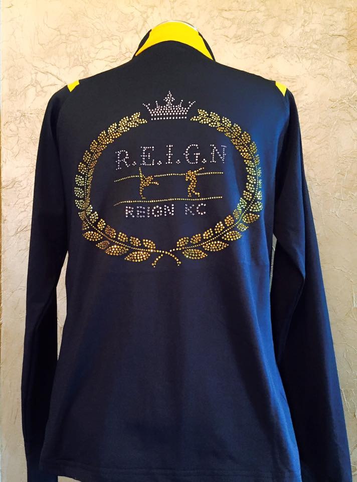 Reign KC custom dance jacket with bling rhinestones