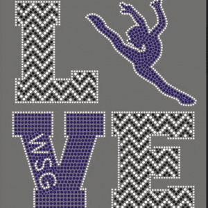 love wsg custom rhinestone logo for dance jackets