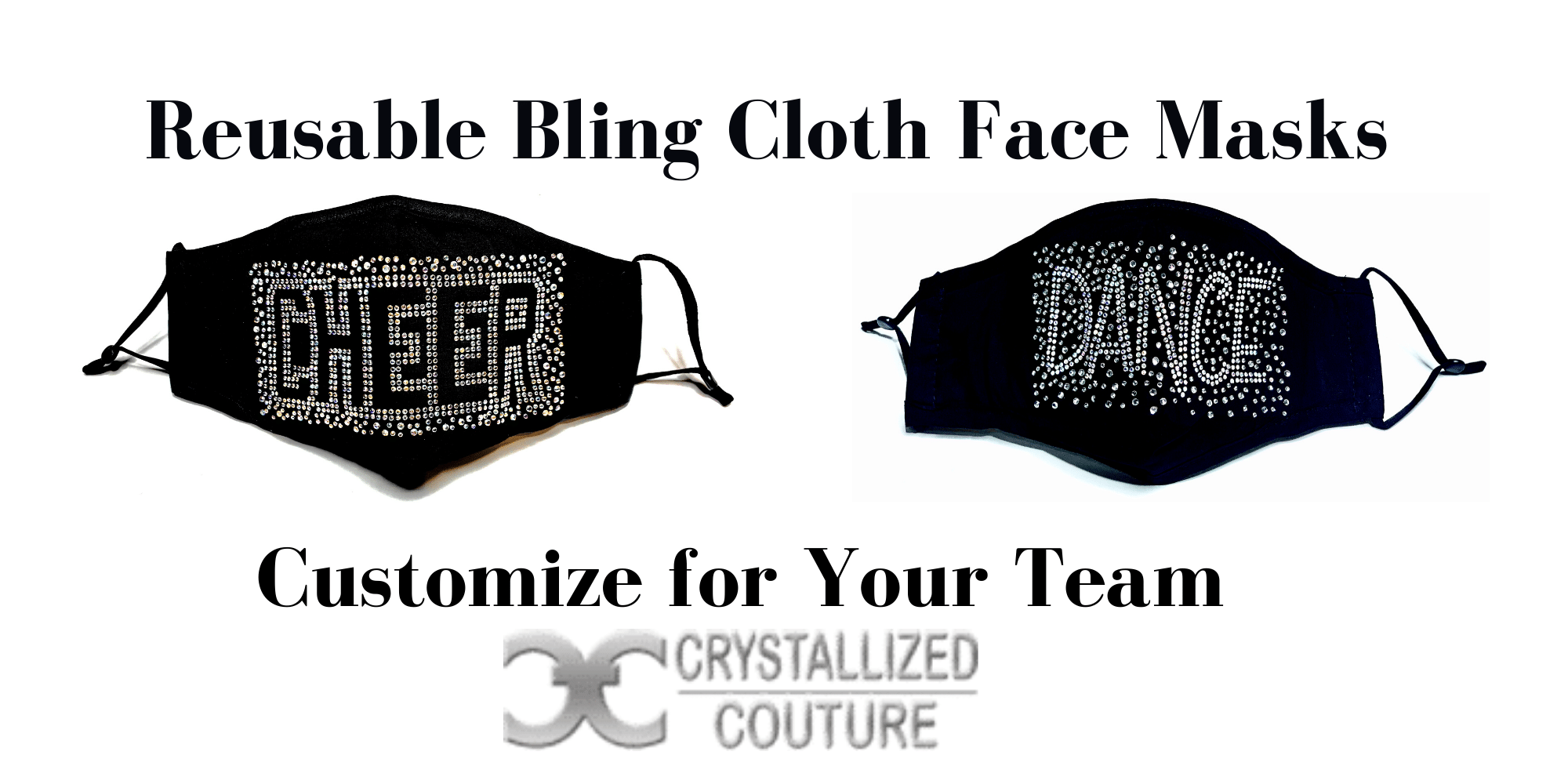 Reusable Cloth Face Masks for Cheer and Dance Teams by Crystallized Couture