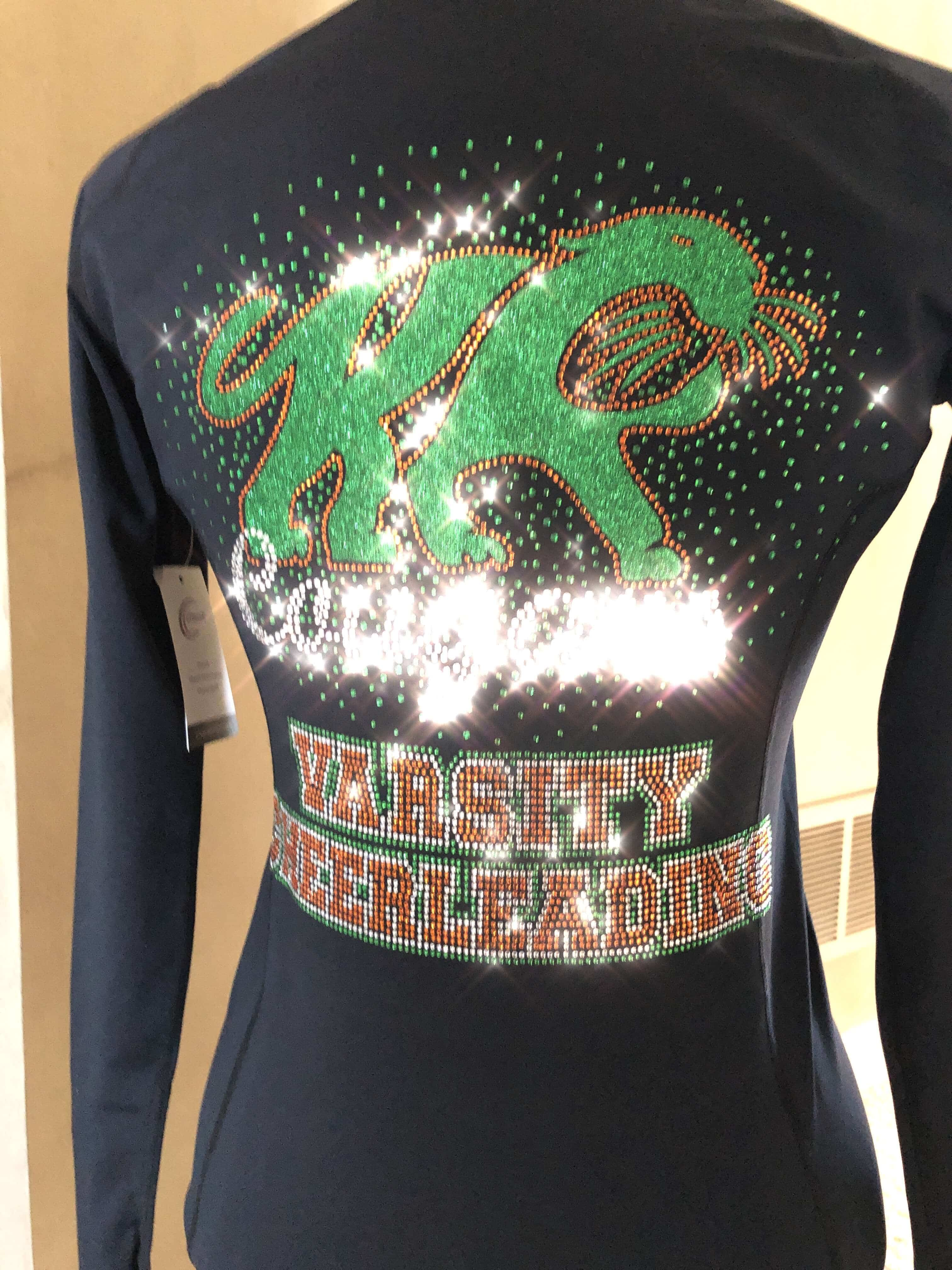 Cougars Varsity Cheerleading team custom rhinestone jacket created by Crystallized Couture