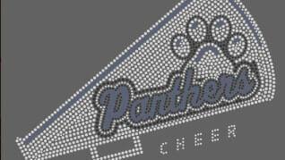 Panthers cheer bling megaphone logo for jacket warmups
