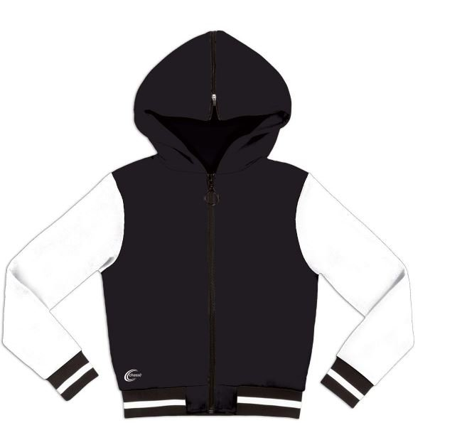 cotton and polyester hooded dance team jacket with rhinestones