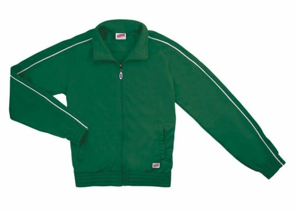 green brush tricot polyester dance team jacket