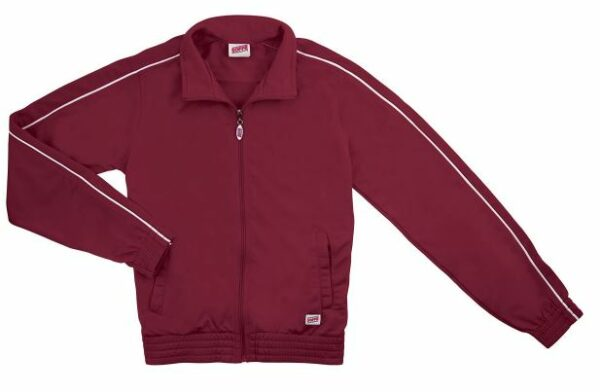 maroon brush tricot polyester dance team jacket