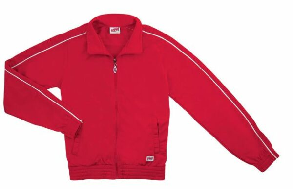 red brush tricot polyester dance team jacket